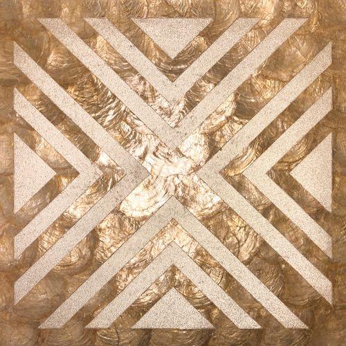Wandpaneel Perlmutt Optik WallFace LU04 CAPIZ Dekorpaneel strukturiert mit Glasperlen glänzend beige braun bronze 0,2 m2 – Bild 1