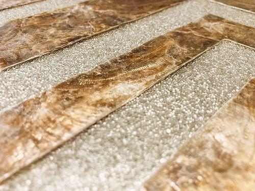 Luxus Muschel Wandverkleidung Wallface LU04-5 CAPIZ Dekorfliesen Set handgearbeitet mit echten Muscheln und Glasperlen Perlmutt Optik beige braun bronze 1 m2 – Bild 2