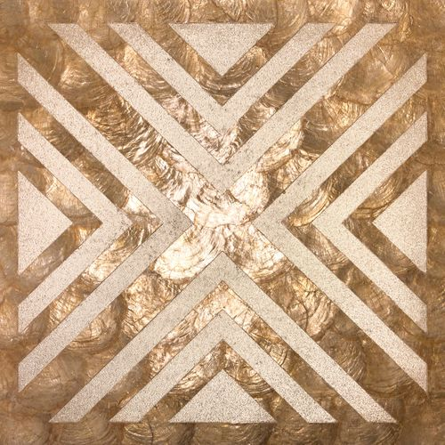 Luxus Muschel Wandverkleidung Wallface LU04-5 CAPIZ Dekorfliesen Set handgearbeitet mit echten Muscheln und Glasperlen Perlmutt Optik beige braun bronze 1 m2 – Bild 1