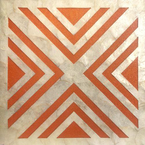 Luxus Muschel Wandverkleidung Wallface LU05-5 CAPIZ Dekorfliesen Set handgearbeitet mit echten Muscheln und Glasperlen Perlmutt Optikcreme weiß orange 1 m2 – Bild 1