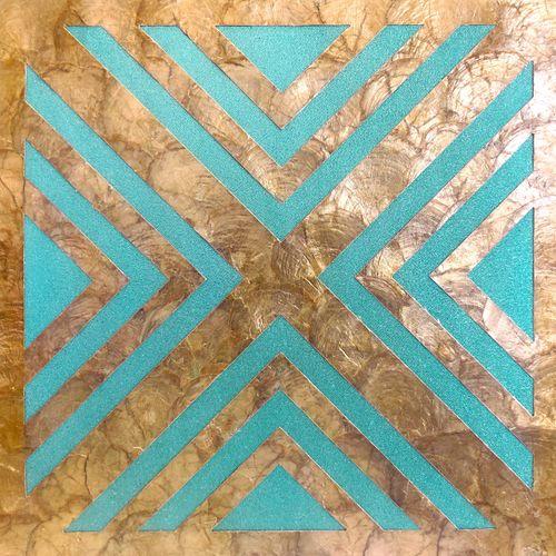 Luxus Muschel Wandverkleidung Wallface LU06-5 CAPIZ Dekorfliesen Set handgearbeitet mit echten Muscheln und Glasperlen Perlmutt Optik beige türkis bronze 1 m2 – Bild 1