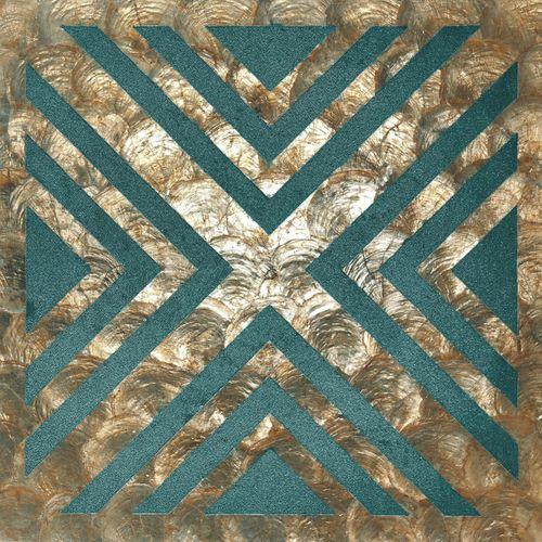 Luxus Muschel Wandverkleidung Wallface LU10-5 CAPIZ Dekorfliesen Set handgearbeitet mit echten Muscheln und Glasperlen Perlmutt Optik bronze grün-blau beige 1 m2 – Bild 1