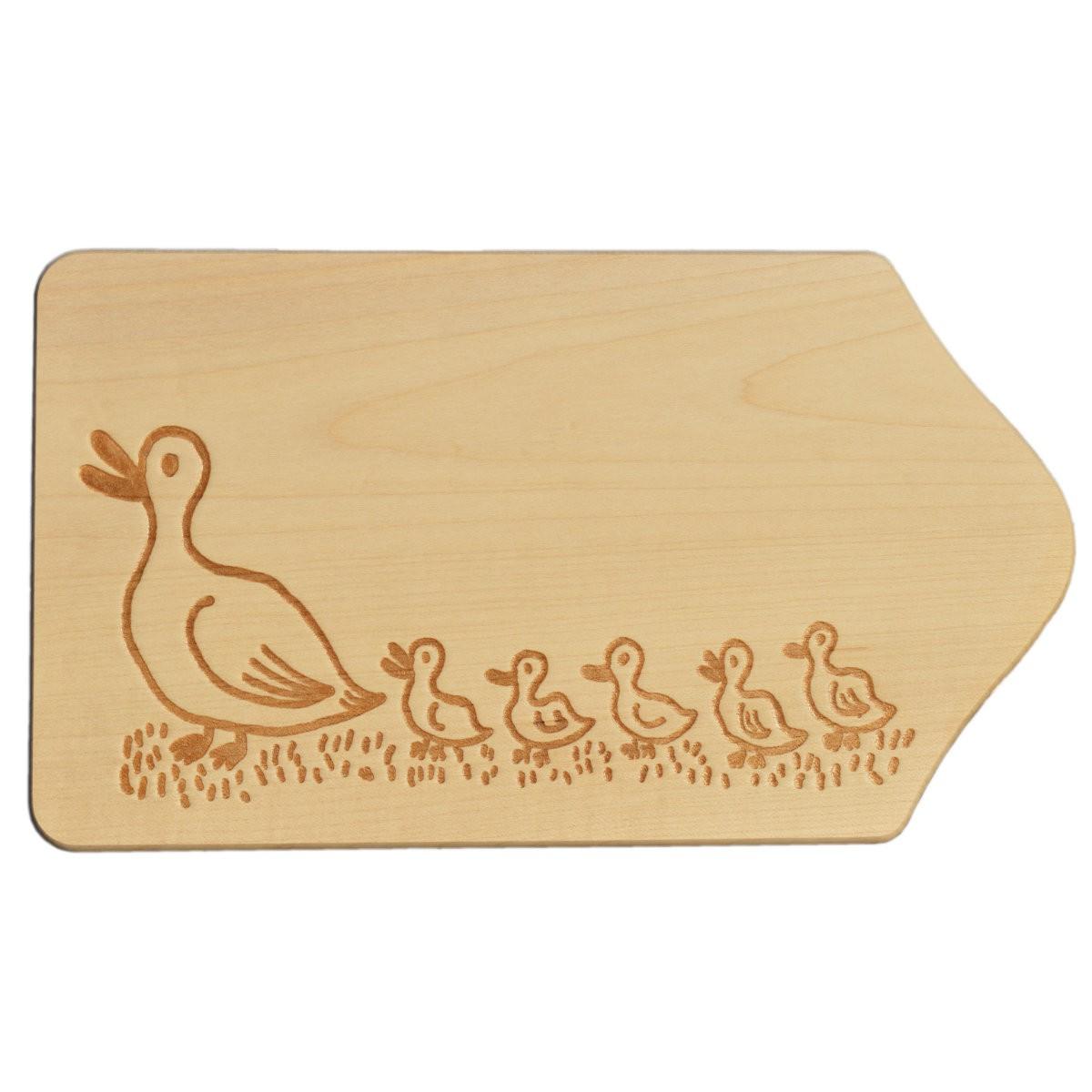 Frühstücksbrettchen Holz mit Gravur - Motiv Enten - zum Selbstgestalten & Bemalen