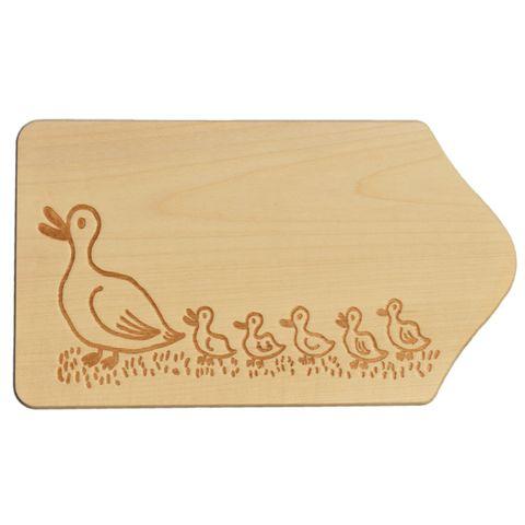 Frühstücksbrettchen Holz mit Gravur - Motiv Enten - zum Selbstgestalten & Bemalen – Bild 1