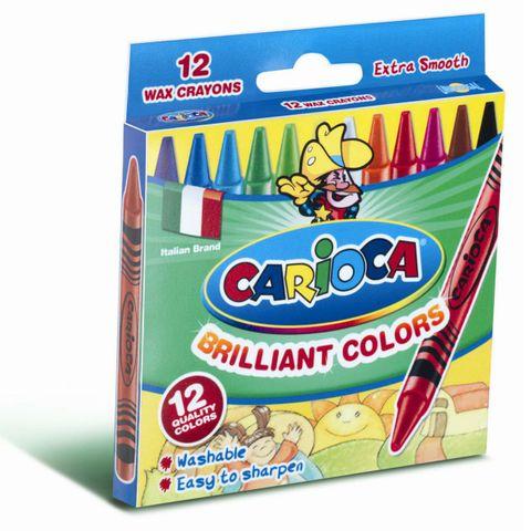 Carioca Wachsmalstifte Ø 8mm - 12er Etui - Wachsmaler für Kinder, auswaschbar