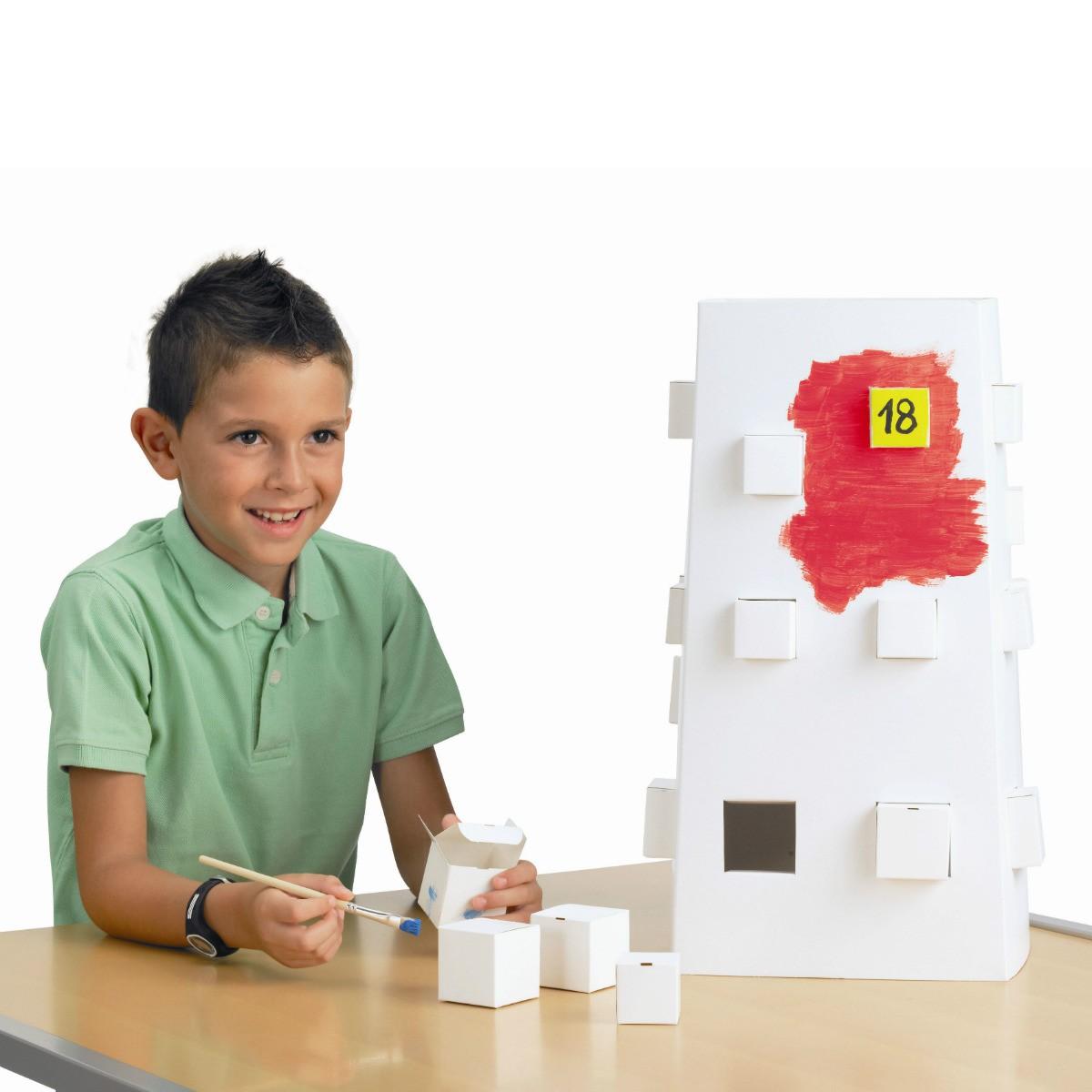 Adventskalender Rohling - Turm Magic Tower - blanko weiß zum Bemalen, H 49cm