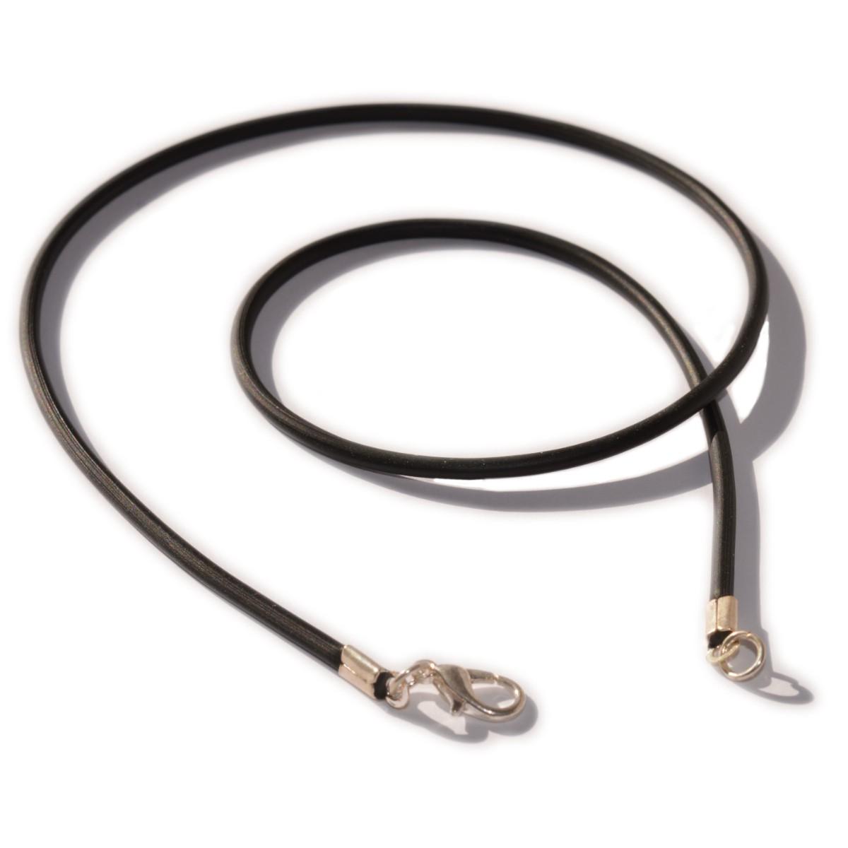 Kautschukband Hals-Kette mit Verschluss - schwarz 44 cm