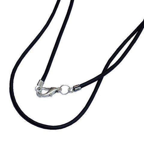 Kautschukband Hals-Kette mit Verschluss - schwarz 44 cm – Bild 2