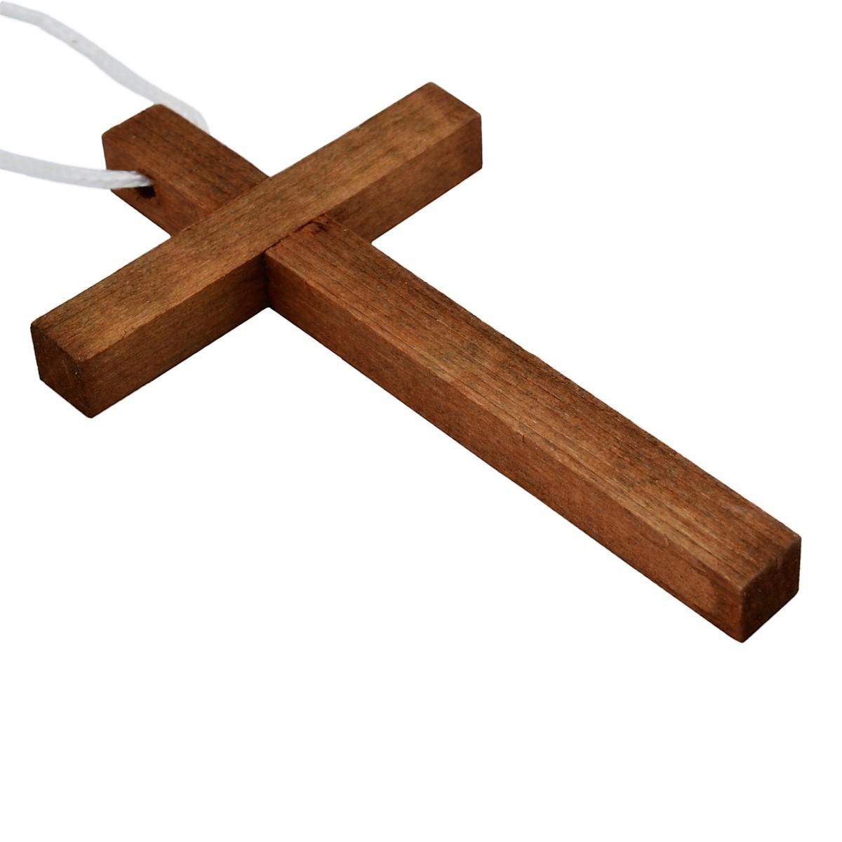croix d 39 aube en bois fonc pour communion sur cordon 10cm. Black Bedroom Furniture Sets. Home Design Ideas
