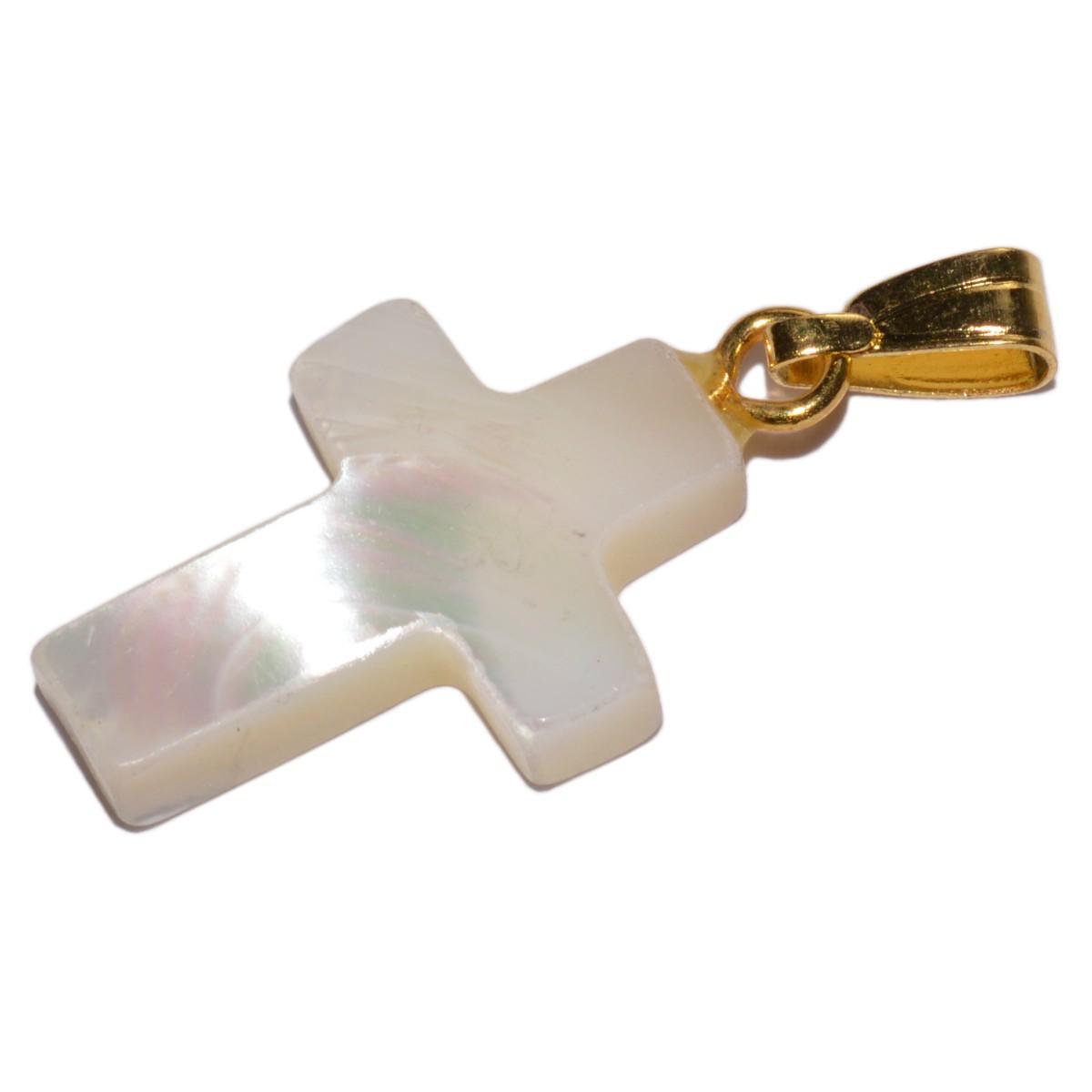 Perlmutt Kreuz Anhänger 18x12mm