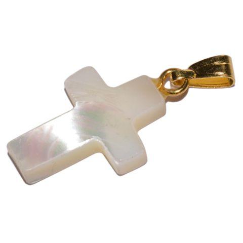 Perlmutt Kreuz Anhänger 18x12mm – Bild 1