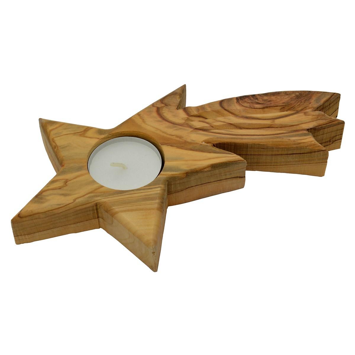 teelichthalter olivenholz stern holz weihnachtsstern mit schweif 17cm. Black Bedroom Furniture Sets. Home Design Ideas