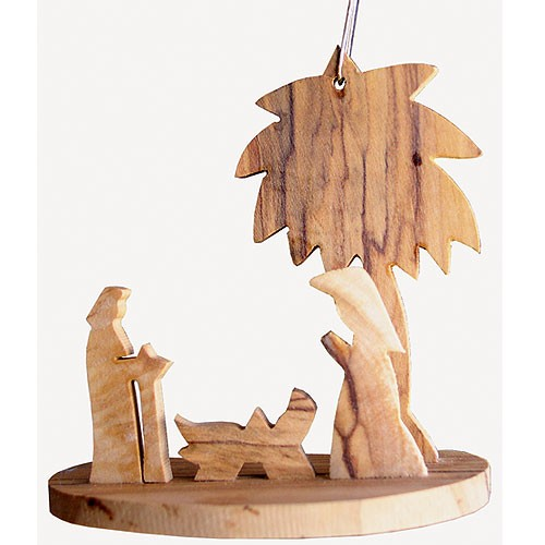 Holz Anhanger Minikrippe Olivenholz Christbaumschmuck Bethlehem 7cm