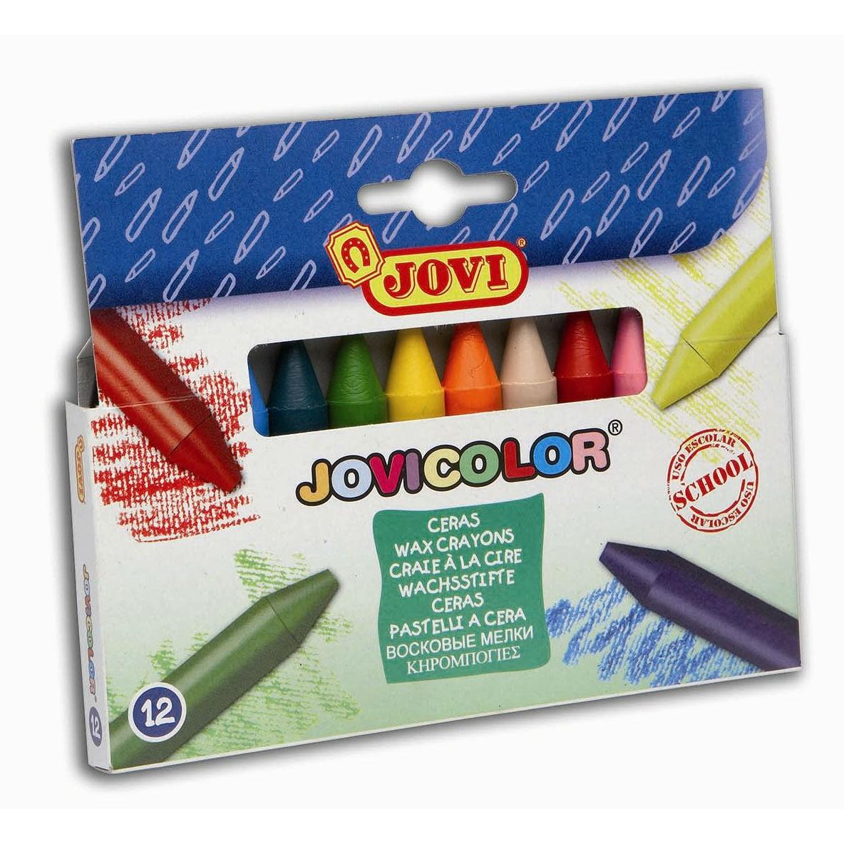 Jovi Wachsmalstifte dick Ø 12mm - 12er Etui - Wachsmaler Set mit 12 Farben
