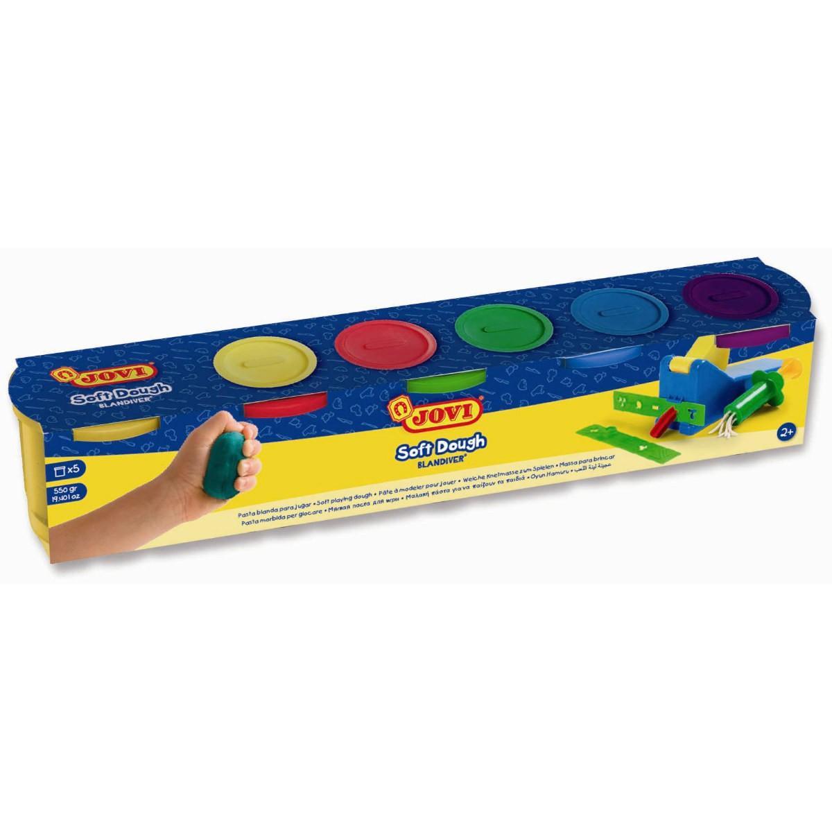 Kinder Soft Knete Set 5x110g - 5 Dosen JOVI Blandiver besonders weiche Knete