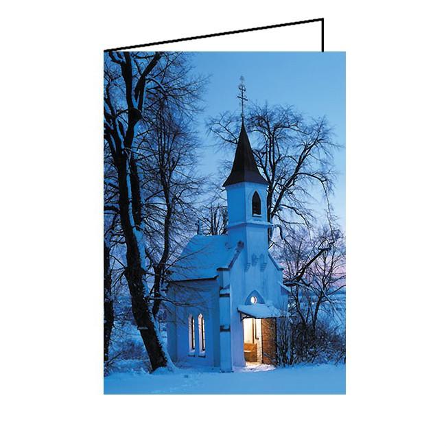 Weihnachtskarte DIN A6 Klappkarte Kapelle im Schnee, 10 Stück