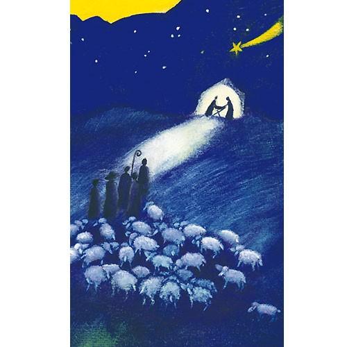 Religiöse Weihnachtskarten.Weihnachtskarte Großformat Maxi Klappkarte Hirten 12x19cm 10 Stk