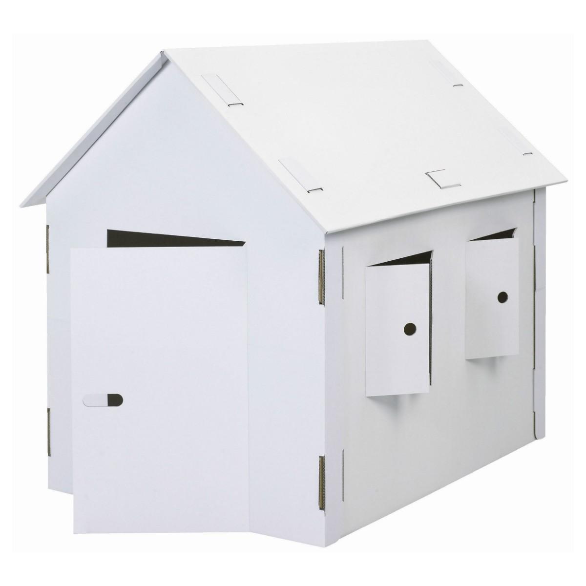 Spielhaus aus Pappe - Pappspielhaus groß, 120cm hoch, blanko weiß zum Bemalen