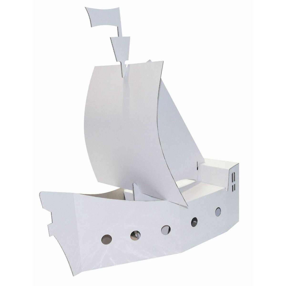 Piratenschiff aus Pappe / Karton blanko weiß zum Basteln & Bemalen, 50cm groß