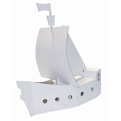 Piratenschiff aus Pappe / Karton blanko weiß zum Basteln & Bemalen, 50cm groß – Bild 1