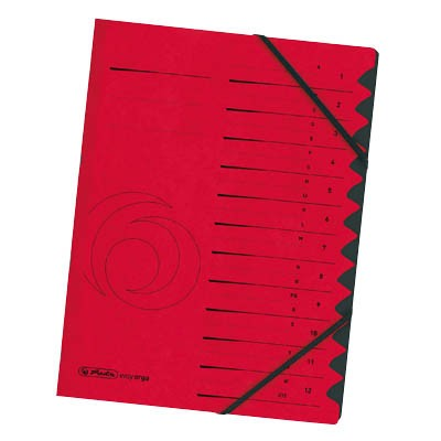 Herlitz Ordnungsmappe A4, 12-teilig, rot