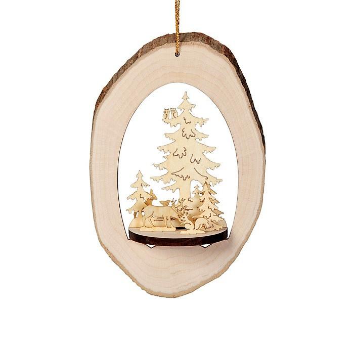 rondin de bois d co no l rondelle bois brut avec sapin miniature 14cm. Black Bedroom Furniture Sets. Home Design Ideas