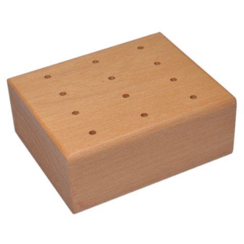 Prickelnadelständer - Holz-Klotz für 12 Prickelnadeln / Filznadeln, 7x6xH3cm – Bild 1