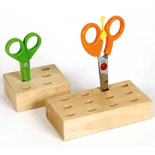 Scherenständer Holz - Pinselhalter Scherenblock Scherenhalter für 6 Scheren