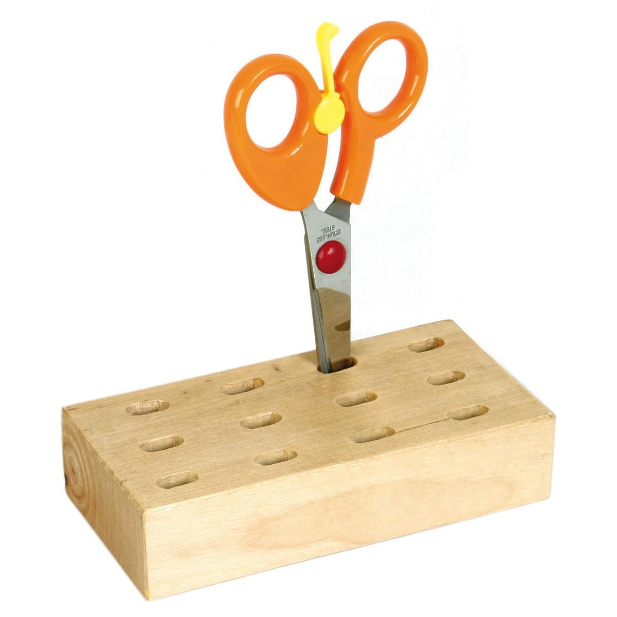 Scherenständer Holz - Pinselhalter Scherenblock Scherenhalter für 12 Scheren oder Pinsel