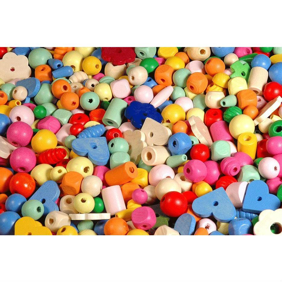 1000 Holzperlen pastell zum Fädeln (1-2cm) - Kinderschmuck Bastelset 1kg