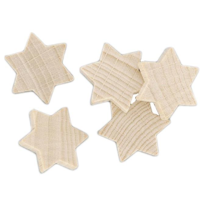 25 Holzsterne Streudeko Holz natur 2cm - Tischschmuck Weihnachten Sterne aus Holz