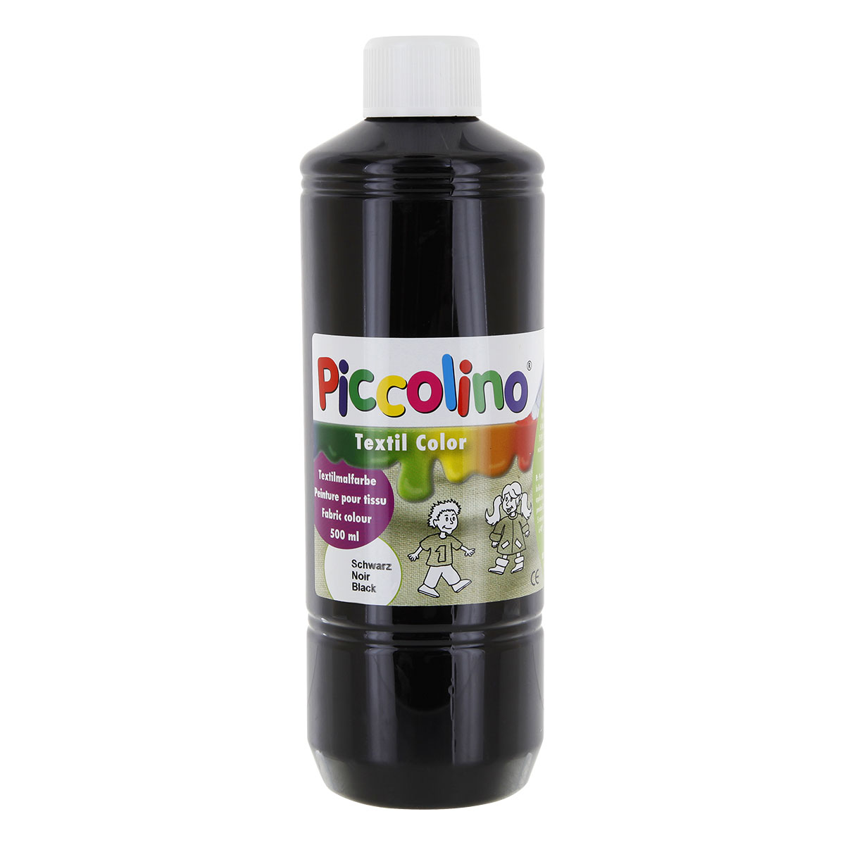 Textilfarbe schwarz 500ml - Stoffmalfarbe PICCOLINO Textil Color