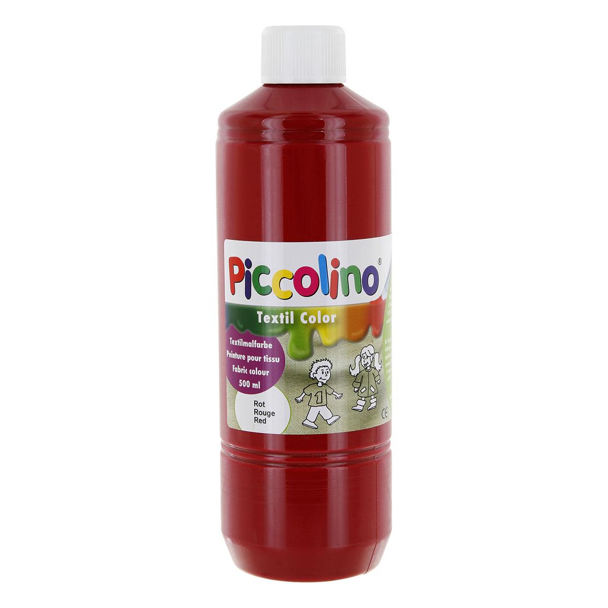 Textilfarbe rot 500ml - Stoffmalfarbe PICCOLINO Textil Color