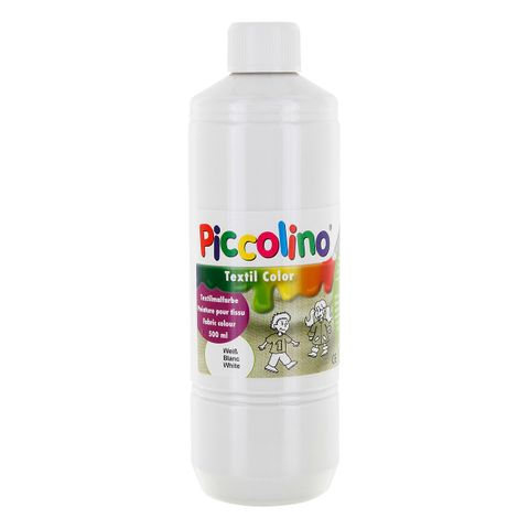 Textilfarbe weiß 500ml - Stoffmalfarbe PICCOLINO Textil Color – Bild 1
