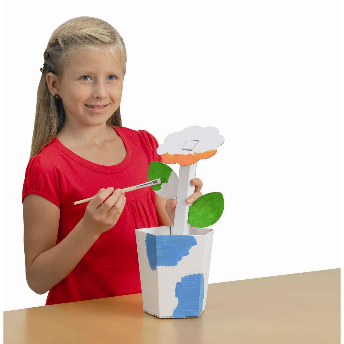 Blume aus Karton / Pappe blanko weiß zum Basteln und Bemalen, Höhe 35cm