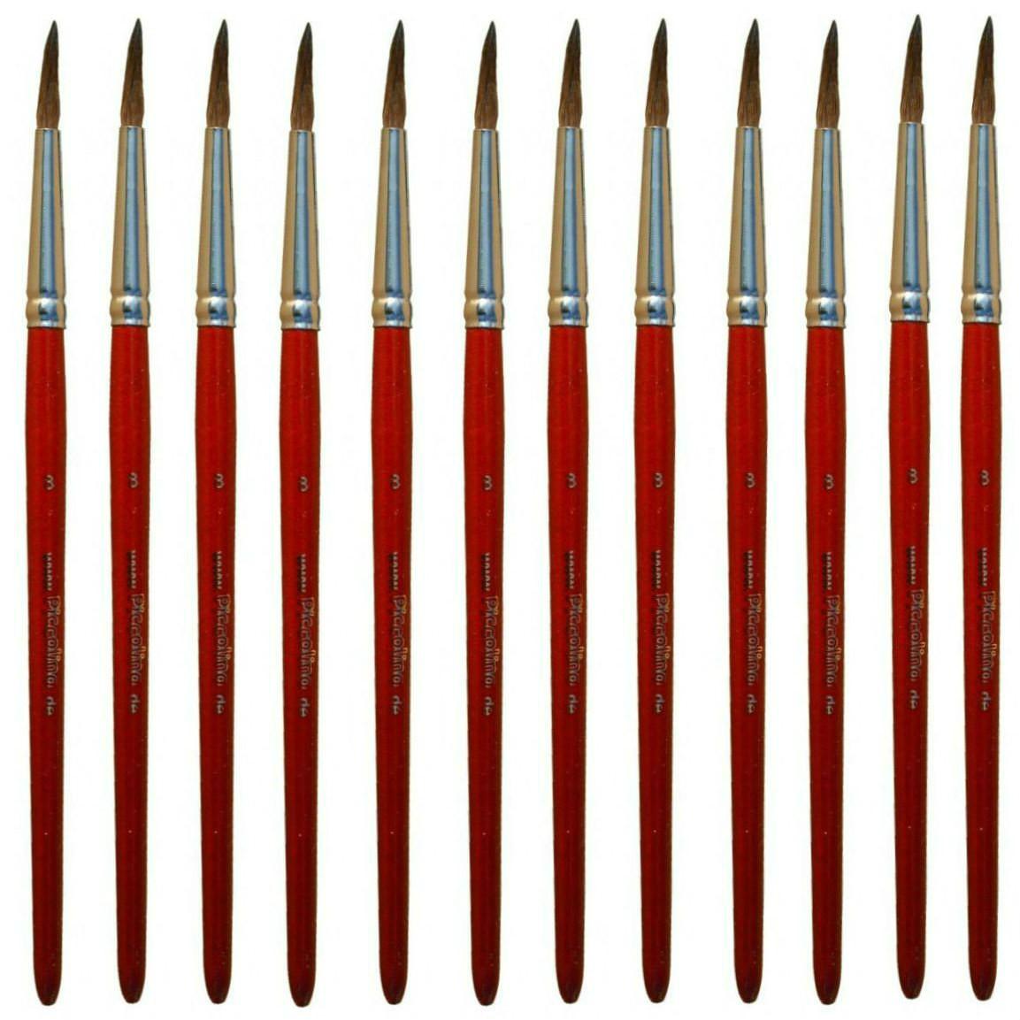 Aquarellpinsel Größe 4 - 12er Pack - Piccolino Schulmalpinsel Premiumqualität