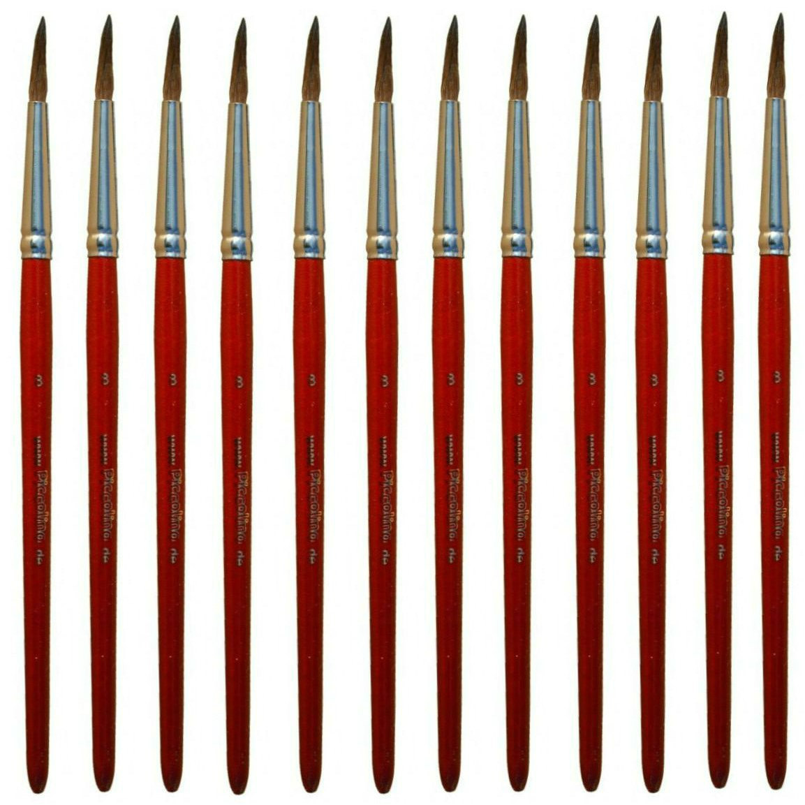 Aquarellpinsel Größe 6 - 12er Pack - Piccolino Schulmalpinsel Premiumqualität