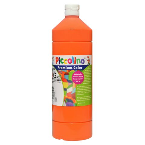 Piccolino Schulmalfarbe 1000ml orange - Premium Color - Gouache Schultempera – Bild 1