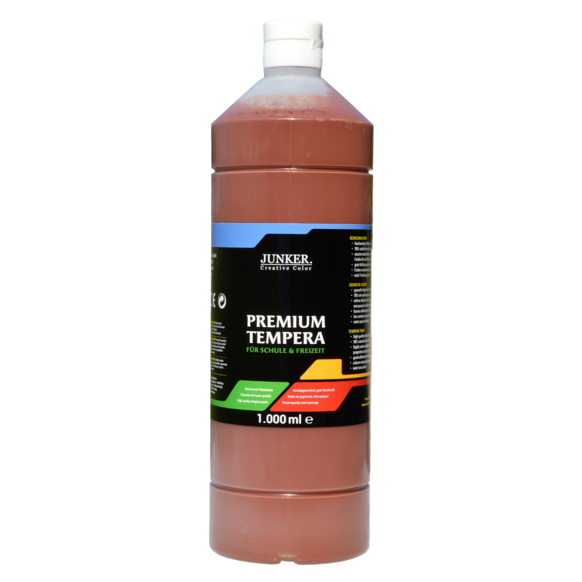 Piccolino Schulmalfarbe 1000ml braun - Premium Color - Gouache Schultempera