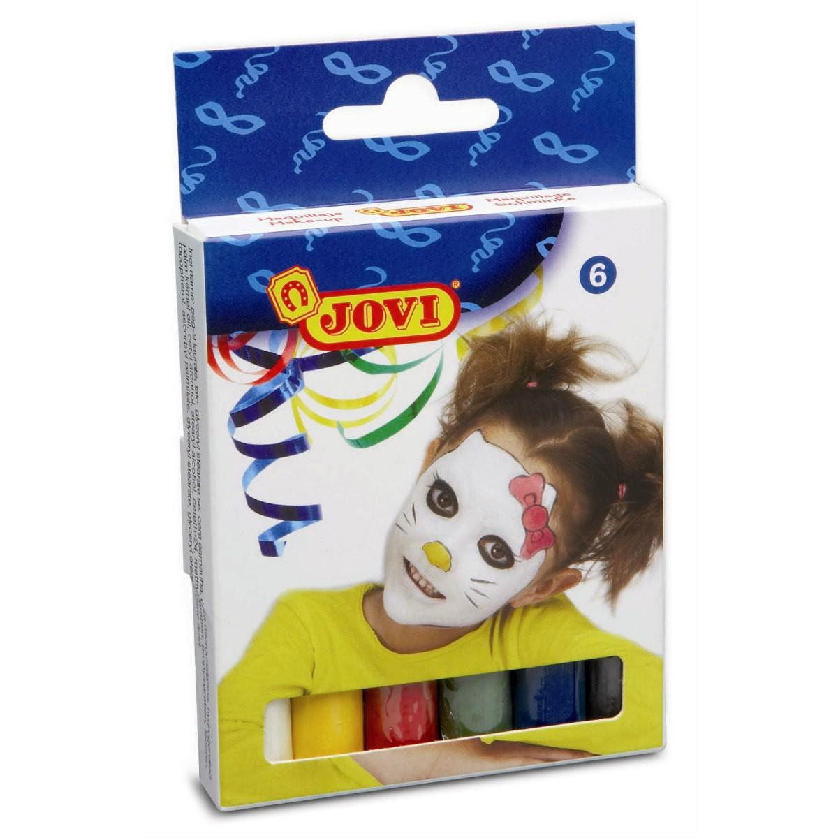 6 dicke Schminkstifte JOVI zu je 17g, Set mit 6 Farben - Kinder Schminke Karneval