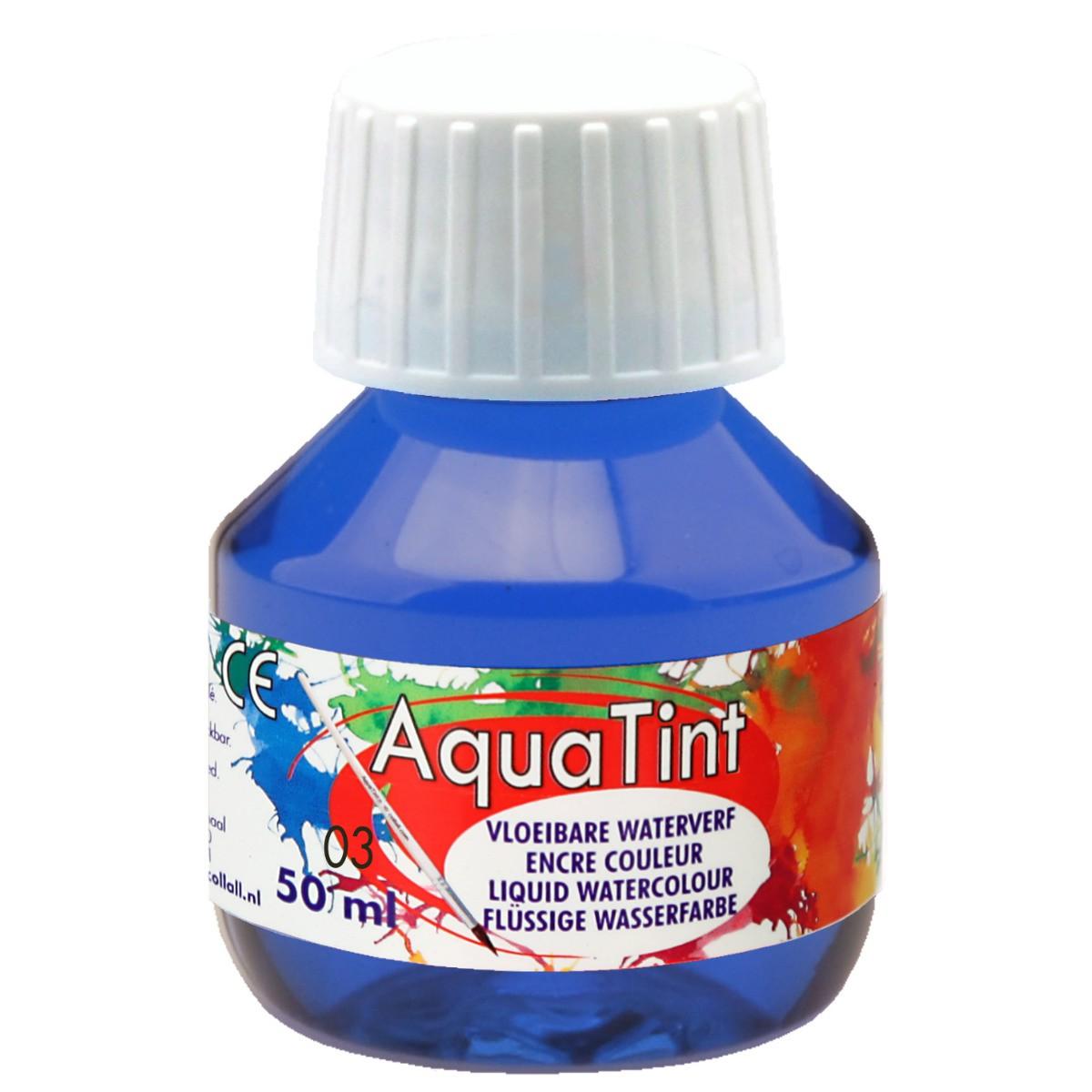 Flüssige Wasserfarbe AquaTint - dunkelblau, 50ml Flasche