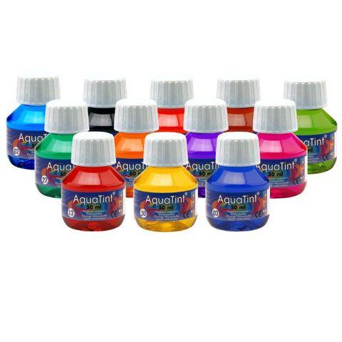 Flüssige Wasserfarbe AquaTint - dunkelblau, 50ml Flasche – Bild 2