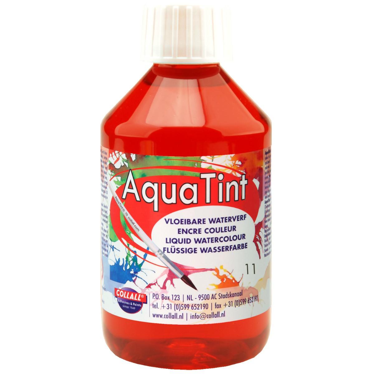 Flüssige Wasserfarbe AquaTint - Farbe hellrot - 250ml Flasche