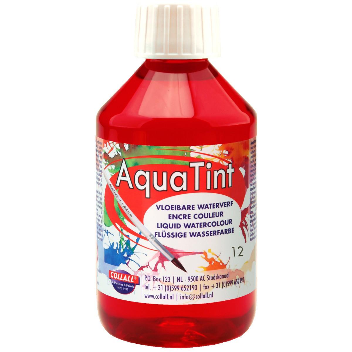 Flüssige Wasserfarbe AquaTint - Farbe dunkelrot - 250ml Flasche