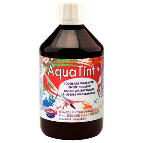 Flüssige Wasserfarbe AquaTint - Farbe schwarz - 250ml Flasche – Bild 1