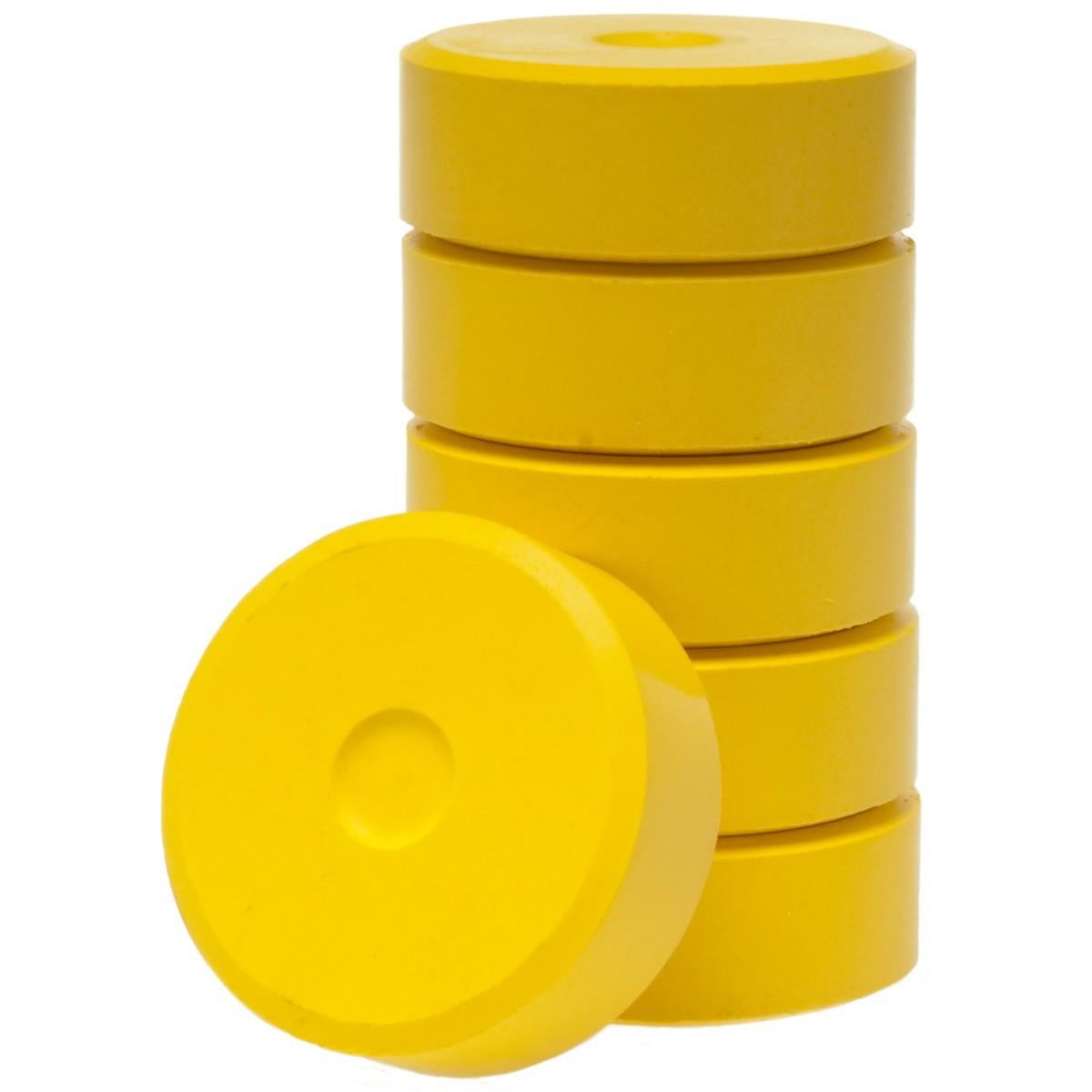 Tempera-Blöcke 44mm gelb 6 Stück - hochwertige Tempera Farb Pucks / Farbtabletten