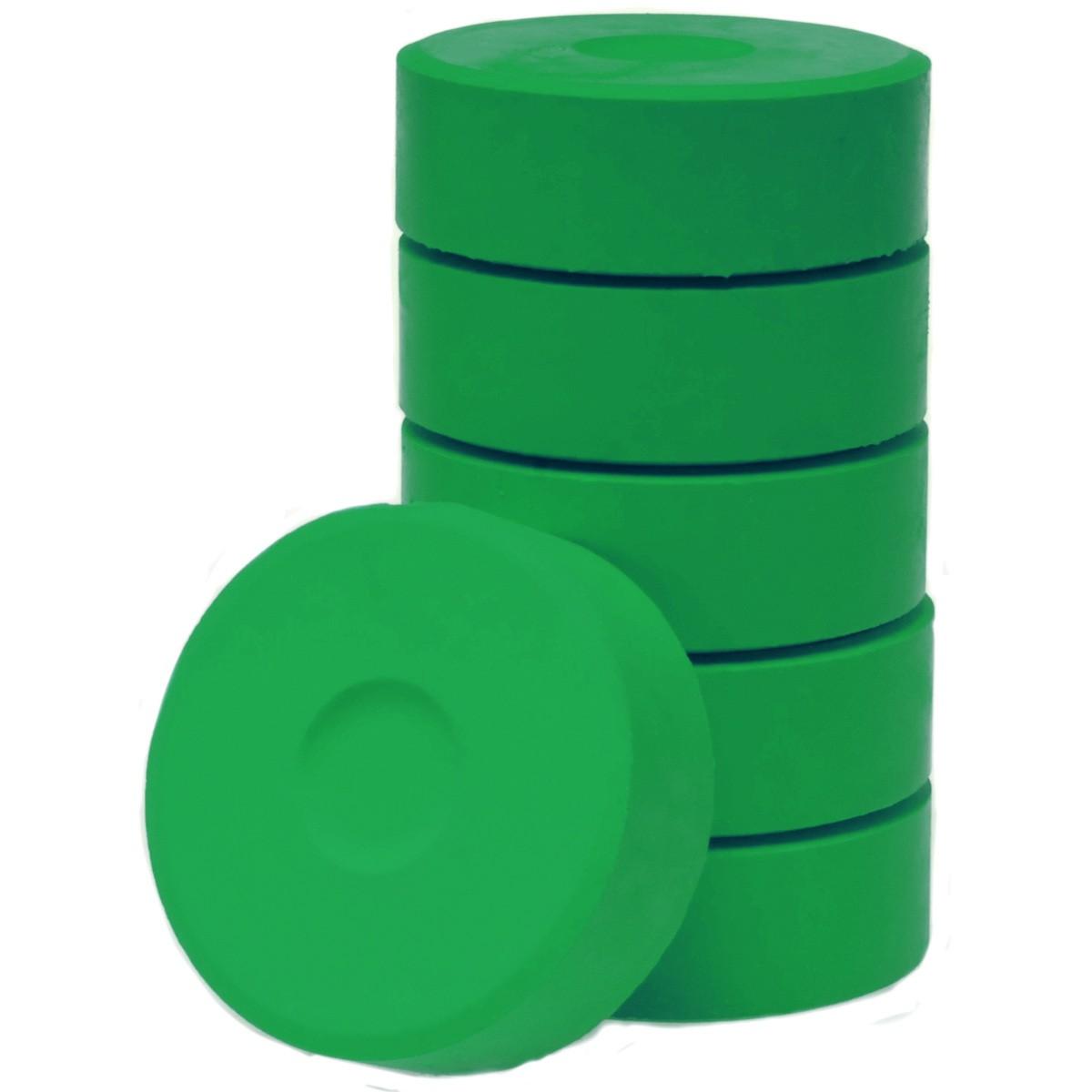 Tempera-Blöcke 55mm dunkelgrün 6 Stück - hochwertige Tempera Farb Pucks / Farbtabletten