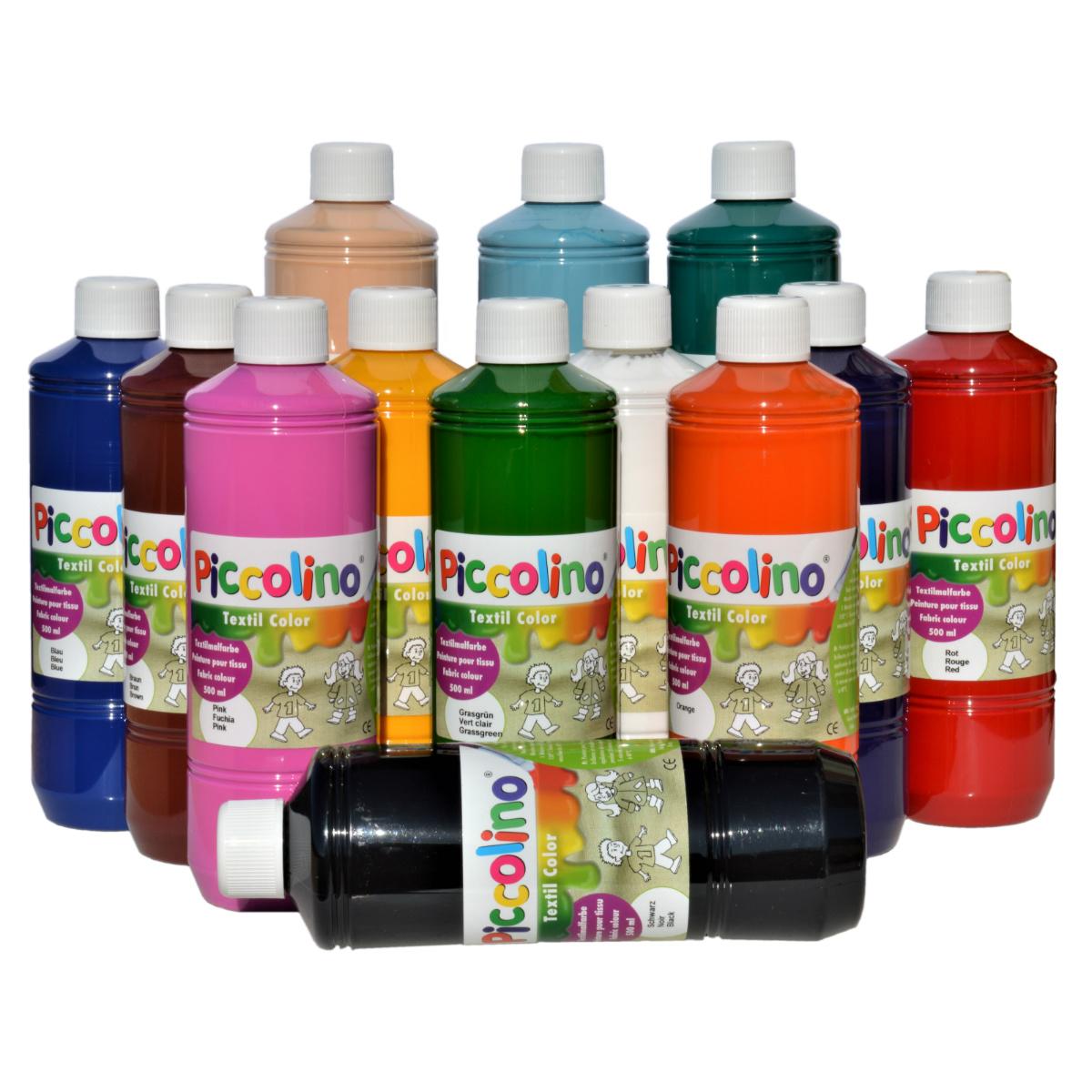 PICCOLINO Textilfarben Set 13 x 500 ml - Stoffmalfarben für helle Stoffe