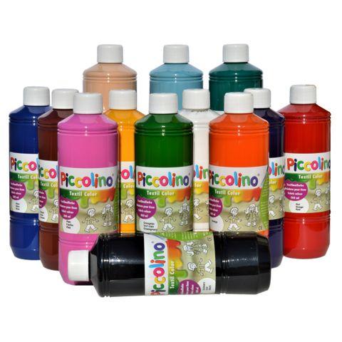 PICCOLINO Textilfarben Set 13 x 500 ml - Stoffmalfarben für helle Stoffe – Bild 1