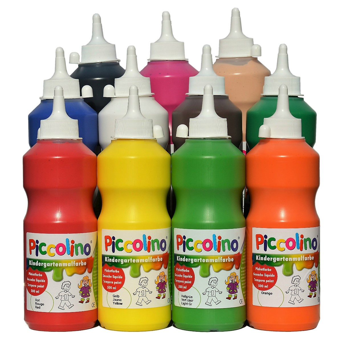 Piccolino Kindermalfarben Set 11x500ml - Kindergarten Malfarben - Schulmalfarben Set